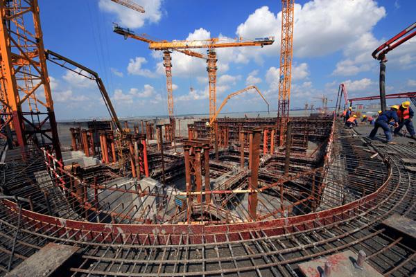 世界最大桥梁沉井基础混凝土接高施工完成